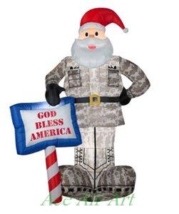 Airblown con God Bless America segno gonfiabili militari Santa