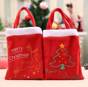 Franela Bolsa de Navidad Elk Árbol de Navidad Papá Noel Pequeño Regalo Dulce Bolsa Moneda Bolsa Bolsa Bolso Totes OOA2691