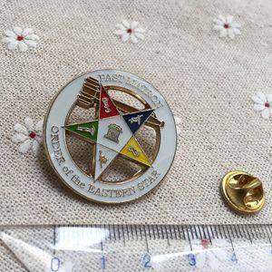 10pcs atacado personalizado Masonic esmalte Pin Badges Maçonaria lapela matrona passada Ordem do tom de ouro Eastern Star Broches