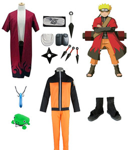 Naruto Cosplay Costume Mode Immortel Robe Chaussures Bandeau Armes Accessoires Tout Ensemble