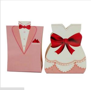 ЭКО-Дружественные Небольшие Подарочные Пакеты Много Бумаги Белый Черный Невеста Жених Платье Свадебные Благосклонности Бесплатная Доставка Конфеты Держатель Коробки
