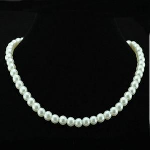Chic Single Strand Faux Imitation Pearl 6mm Pearl Bib Statement Necklace Jewellery Gift Fashion Womens Short Chain Fine Jewelry For Women