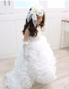 Nuovo A Line Ruffles Flower Girl Dress O Neck senza maniche in organza di pizzo Long Girls Birthday Party Gowns Custom Size