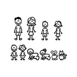 Cartoon Eine große Familie Auto Aufkleber Mode Vinyl Auto dekorative Accessoires schwarz / weiß