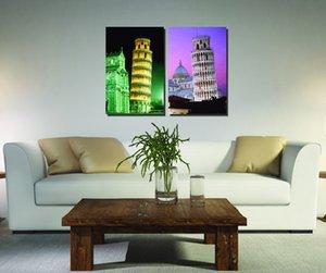 Özel Teklif Alevsiz Dekoratif Sanat Toptan 2 adet Modüler Resim Pisa Kulesi Modern Boyama Modern Sanat