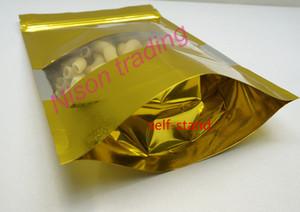 10 * 15 cm, 100 adet / grup X Altın Stand up alüminyum folyo kilitli çanta açık pencere-paketi ile oyuncak / bebek tekrar açılabilir plastik çuval