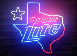 "17 ""x14"" Miller Lite Texas Man Cave Real Glass неоновый свет Вход Beer Bar Pub Работа Реклама Вход"