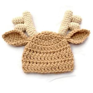Cappello delle alci bello di trasporto libero, cappello Handmade della renna del bambino del crochet lavorato a maglia puro, cappello di Natale del neonato, puntello di fotografia del bambino