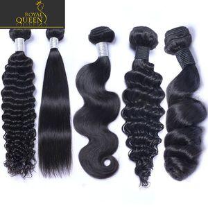 8A Brasilianisches Reines Menschenhaar Spinnt 4 Bundles Gerade / Körperwelle / Kinky / Curly / Tief / Lose Gewellte Peruanische Malaysische Indische Kambodschanische Remy Haar