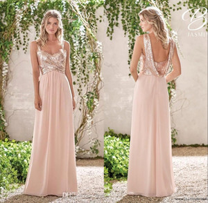 Rose Gold vestiti da damigella A Line spaghetti Backless Paillettes chiffon poco costoso Long Beach Invitato a un matrimonio Bridesmaids abito da damigella d'onore Abiti