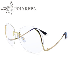 Luxury Optical Gradient Eyeglasses Women Fashion Optics Big Metal Frame Elegant Female Round Glasses bend Frame Glasses With Box And Case