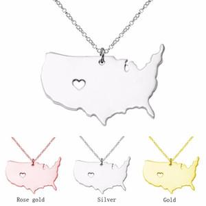 Büyük Amerika Kolye Harita Kolye Kolye ABD Devlet Kolye Harita Kolye Ile Bir Kalp El Yapımı Takı