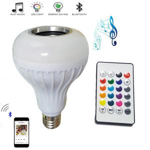 дешевые 2шт E27 music bulb smart LED RGB беспроводной динамик Bluetooth лампа 12 Вт Мощность воспроизведения музыки свет лампы + пульт дистанционного управления