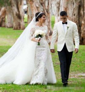 Por encargo 2020 más el tamaño vestidos de novia de sirena con el tren desmontable completa escarpada del cordón de manga larga Vetidos de novia Vestidos de novia barato