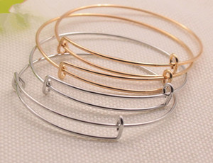 Europe and the United States jewelry wire bangle bracelets gold silver cable wire bangle adjustable charm love bracelet DIY jewelry making