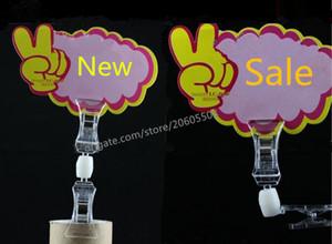 Горячие продажи супермаркет двойной U-типа поп клип дисплей ценник знак бумаги держатель поворотный продвижение клипы ярлык держатель оснастки бесплатная доставка 10 шт.