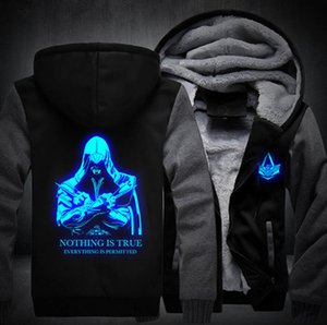 도매 - 새 Thicken Fleece Hoodie Unisex Luminous Coat 지퍼 자켓 Assassin Creed 탑 의류 남성 여성