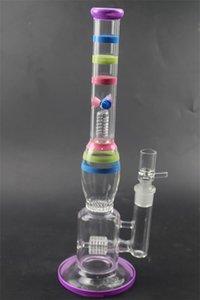 """Bong di vetro colorato 14,1 """"pollici di altezza 18,8 millimetri di dimensione comune Tipo dritto Tubi di acqua di forma Bubbler di vetro di porcellana Bong per fumare GB-371"""