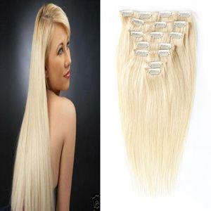 인간의 머리카락 확장에 스트레이트 클립 100g 7pcs 4a 4b 4c 비 레미 헤어 100 % 인간의 머리 금발 컬러 613 전체 헤드 세트