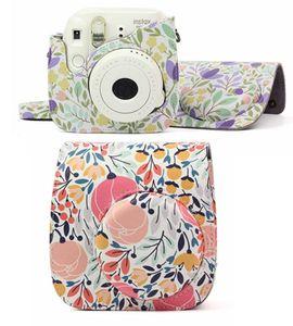 Borsa per fotocamera in pelle PU foglia per Fujifilm Polaroid Instax Mini8 / Mini 9