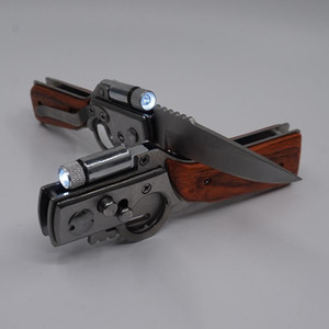 AK47 Coltello da caccia a forma di pistola 440 acciaio lama manico in palissandro tattico pieghevole coltelli campeggio multifunzione strumento di sopravvivenza EDC coltello