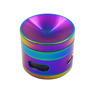 Hot pepper herb metal grinders 55mm 4 layer tobacco grinder for smoking shinning mixed colors Zinc alloy cnc teeth colorful grinder fit dry