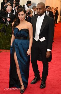 Elegante Longo Met Gala Kim Kardashian Vestido de Noite Querida Plissado Trem Da Varredura Formal Prom Vestido de Festa Custom Made Plus Size