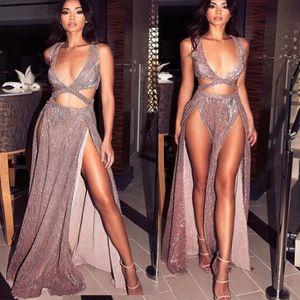 2018 Sexy Party Vestidos Varios Deep V Sequin Split Clubwear Noche Out Largo Maxi Vestidos Backless Piso Longitud Formal Vestidos Largos