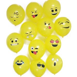 12 adet / takım Emoji Balonlar Gülen Yüz İfade Sarı Lateks Balonlar Parti Düğün Ballon Karikatür Şişme Topları DS1901
