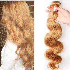 Capelli biondi brasiliani del corpo Wave Honey Bundles # 27 Tessuto dei capelli dell'onda del corpo di Brazillian Cheap Wavy Strawberry Blonde Hair Extension 3pcs / lot