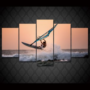 5 Pcs Set Framed HD Printed Ocean Surfing Sports Wall Art Print Poster Pictures Modern Canvas Painting For Kid Room