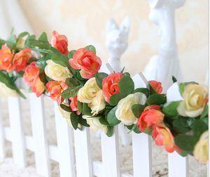 20 adet ADEDI ücretsiz shiping 250 cm / 98.5 inç 5 renk Simülasyon Yapay düğün gül çiçek Cane Vine düğün ve ev mobilya dekorasyon için