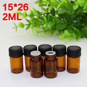 Neues Produkt Großhandel 2 ml kleine Glasfläschchen Probentropfflaschen 2 ml Braunglasflasche mit schwarzem Schraubverschluss