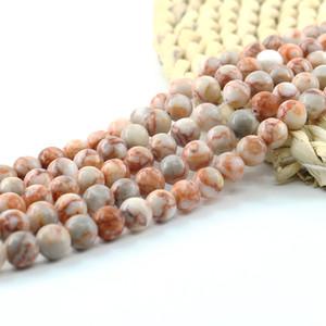 Granos de piedras preciosas semipreciosas de Jasper Picasso rojo para pulseras y collares 6/8 / 10mm 15 pulgadas de hilo por juego L0106 #