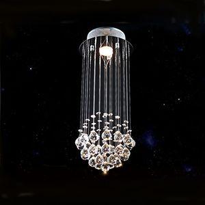 Lustre en cristal moderne de la chaîne K9 lustre allumant des gouttes en spirale en cristal de chandelier d'éclairage d'escalier pour l'escalier