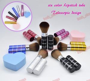 Pincel de maquillaje de tubo de lápiz labial Diseño telescópico para llevar en la bolsa, pincel en polvo especial Cosmético portátil BB crema pincel 6 color