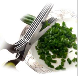 حار بيع متعددة الوظائف 5 طبقة مطبخ المقاوم للصدأ سكاكين التقطيع مقص التوابل المفروم الأخضر البصل قطع ورقة مقص أداة