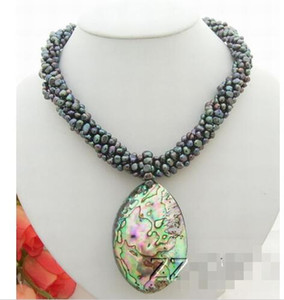 N0801013 6Strds Perle NoireAbalone shell Pendant Necklace-Cameo Fermoir