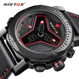 Men's Fashion New Sports Electronic Brand RISTOS Quartz Watch Leather Waterproof Belt Leather Circular Pointer Digital Men's Watch