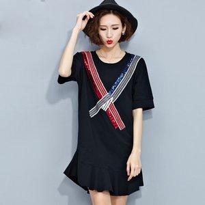 Frauen sommer stil t-shirt baumwolle dress casual tops tees patchwork weibliche pailletten drucken mode schwarz zeigen dünne dame