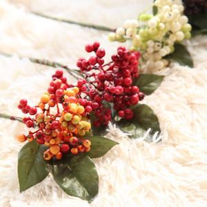Berry artificial Flores de simulación de plástico Frutas Vivid Real Touch DIY Decoración para el hogar Plantas artificiales Decoración de la boda