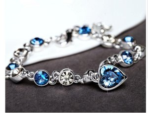 Moda Charm Bracelets Amor Coração de Zircão Do Oceano Pulseira De Cristal Jóias Mulheres Austríaca Infinito Charme Coração De Strass Corrente De Prata De Ouro