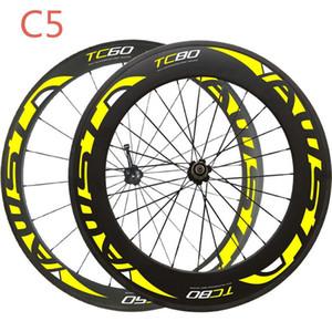 Comercio al por mayor amarillo ruedas de carbono juego de ruedas de carbono 700c cierre delantero 60 mm trasero 88 mm ruedas de bicicleta superficie de basalto en stock envío gratis