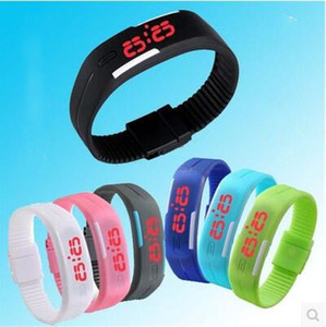 Colorido impermeable Suave Led Touch Watch Jelly Candy Caucho de Silicona Pantalla Digital Relojes Hombres Mujeres Unisex Reloj Deportivo DHL