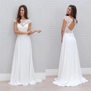 2019 Jewel Neck Einfache weiße Brautkleider A Line Backless bodenlangen Chic Cap Short Sleeves Brautkleider billig