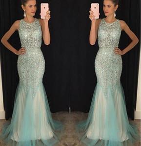 2017 Vintage Light Blue Sky Mermaid Prom Dresses Rhinestones di cristallo in rilievo Abiti da sera di Tulle Abiti da spettacolo di lunghezza del pavimento