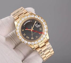 Top quality Super Presidente Ouro 18 K Data Dia dos homens Assista Big Diamond Prong Set fecho original automático moda Mens Relógios