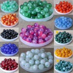 Джейд свободные шарики 8-16MM разные цвета шарма бисера для ювелирных изделий Браслеты Ожерелья способа DIY свободную перевозку груза оптом 0600WH