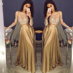 Bela Lace manga comprida ouro duas peças Prom Dresses 2020 Satin baratos Prom Vestidos Vestido Sheer partido dourado