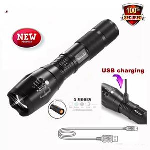 le plus récent AloneFire G700-U XM-L T6 Zoomable CREE LED lampe de poche étanche USB rechargeable lampe torche pour 18650 batterie rechargeable ou AAA